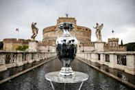 The Euro 2020 trophy on display in Rome, where the competition kicks off on Friday