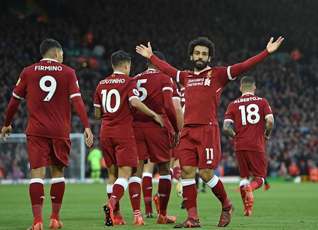 Mo Salah sits atop the Premier League's goalscoring charts after tallying twice in a Liverpool win. (Getty)