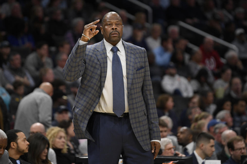 Georgetown head coach Patrick Ewing reacts during the first half of an NCAA college basketball game against Villanova, Saturday, March 7, 2020, in Washington. (AP Photo/Nick Wass)