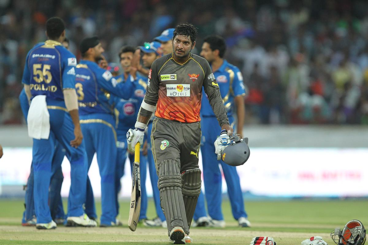 Kumar Sangakkara walks back during match 43 of the Pepsi Indian Premier League between The Sunrisers Hyderabad and Mumbai Indians held at the Rajiv Gandhi International  Stadium, Hyderabad  on the 1st May 2013Photo by Prashant Bhoot-IPL-SPORTZPICS  Use of this image is subject to the terms and conditions as outlined by the BCCI. These terms can be found by following this link:https://ec.yimg.com/ec?url=http%3a%2f%2fwww.sportzpics.co.za%2fimage%2fI0000SoRagM2cIEc&t=1500735395&sig=UwP7Lc_dhc_aUEwUG5eA3w--~C
