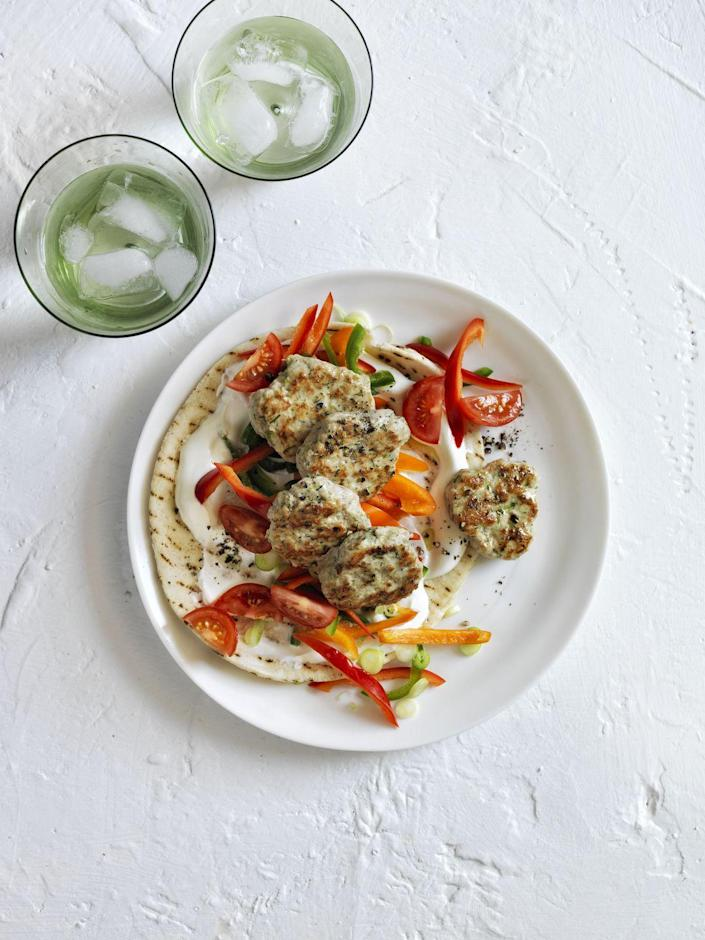 """<p>Go Greek with these 20-minute, super filling pita wraps. </p><p><em><a href=""""http://www.womansday.com/food-recipes/food-drinks/recipes/a12391/turkey-meatball-stroganoff-recipe-wdy0314/"""" rel=""""nofollow noopener"""" target=""""_blank"""" data-ylk=""""slk:Get the recipe for Turkey Meatball Gyro »"""" class=""""link rapid-noclick-resp""""><span class=""""redactor-invisible-space"""">Get the recipe for Turkey Meatball Gyro »</span> </a></em></p>"""