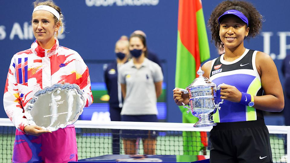 Victoria Azarenka and Naomi Osaka, pictured here after the US Open final in 2020.