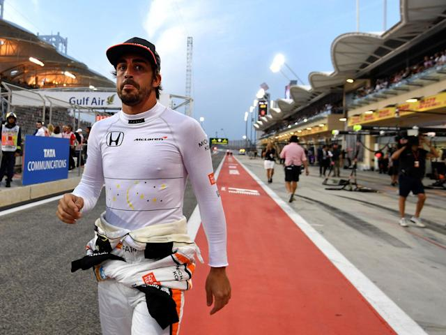 Alonso at the Sakhir circuit in Manama for the Bahrain Formula 1 Grand Prix: Getty
