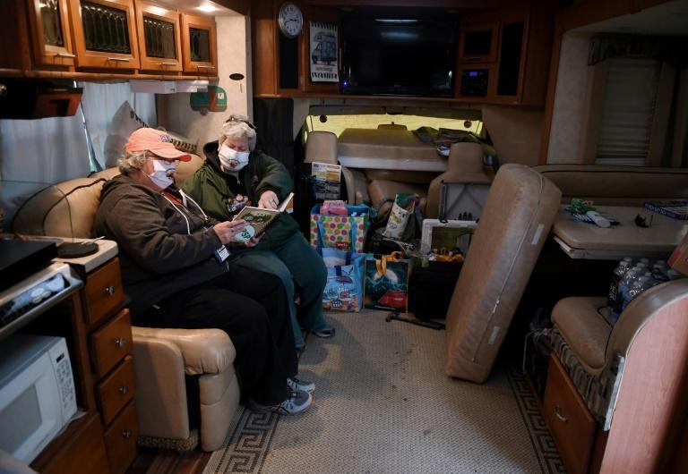 """""""The Beast,"""" the RV belonging to Kathy Healy (L) and Sandy Bosley (R) includes, among other features, an entertainment system"""