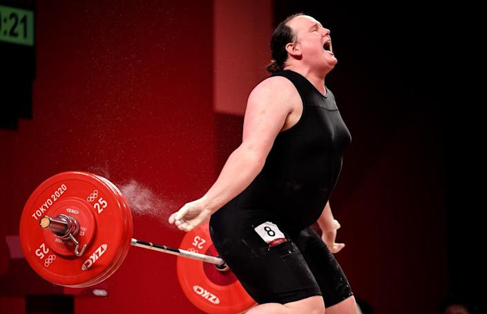 New Zealand's Laurel Hubbard, the first transgender Olympian, can't make the lift on her final try