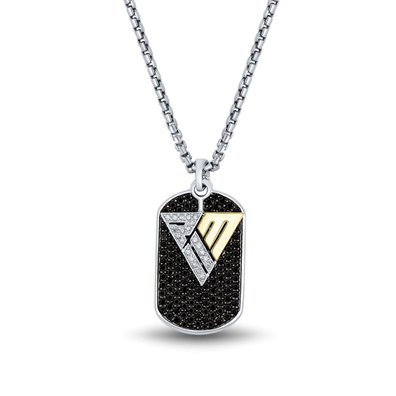 Black and White Diamond Dog Tag