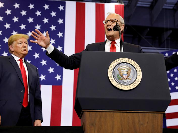 President Donald Trump listens at a rally in support of representative Kevin Cramer in his run for Senate in Fargo, North Dakota on 27 June 2018 ((Reuters))