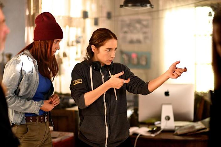 """Melanie Scrofano says she felt """"quite prepared"""" to direct her first full episode of """"Wynonna Earp."""" <span class=""""copyright"""">(Michelle Faye Fraser / Syfy)</span>"""