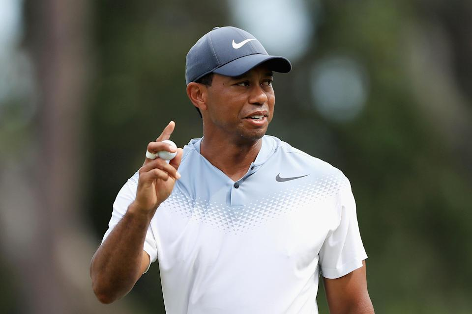 "<a class=""link rapid-noclick-resp"" href=""/pga/players/147/"" data-ylk=""slk:Tiger Woods"">Tiger Woods</a> had one of his best rounds in years Saturday at The Players Championship. (Getty Images)"