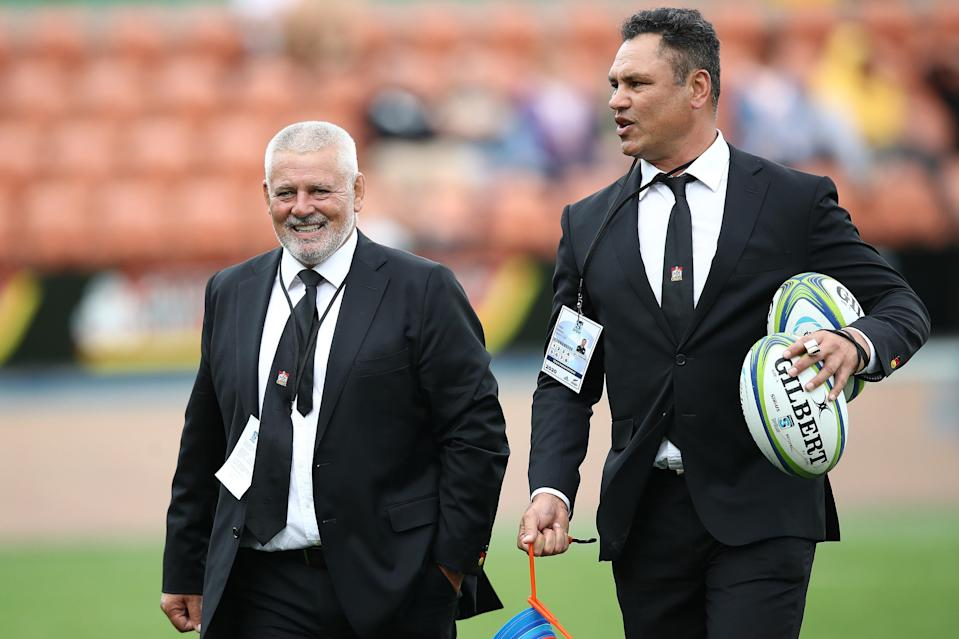 New Harlequins senior coach Tabai Matson, pictured with Lions boss Warren Gatland (Getty Images)
