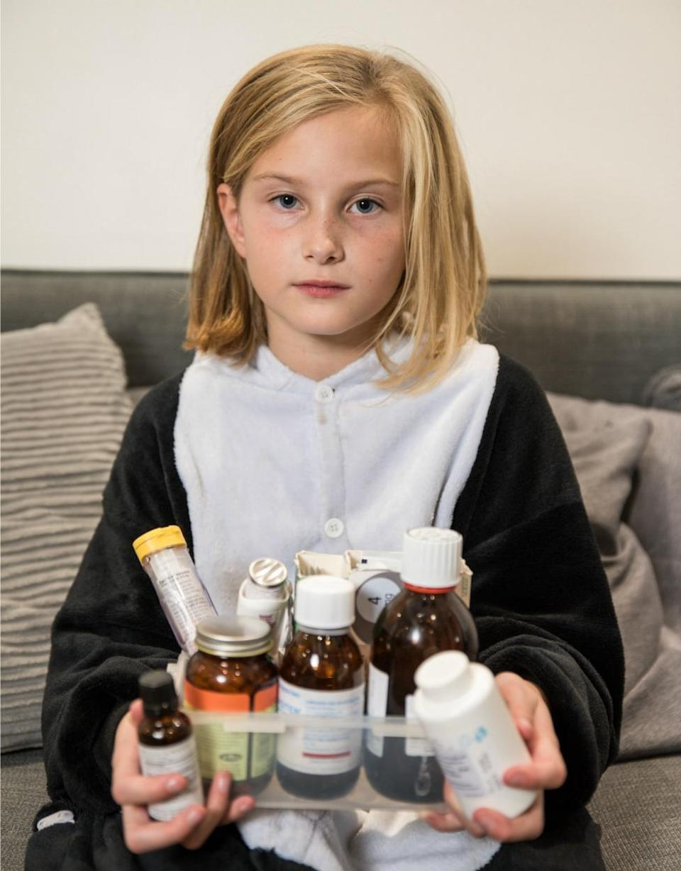 The British schoolgirl suffers from MCAS — mast cell activation syndrome — which causes her immune system to be hypersensitive. (Photo: Caters).