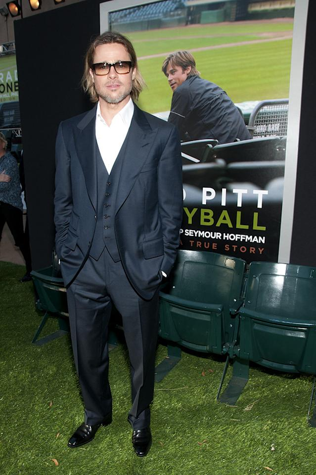 """<a href=""""http://movies.yahoo.com/movie/contributor/1800018965"""">Brad Pitt</a> at the Oakland premiere of <a href=""""http://movies.yahoo.com/movie/1810166670/info"""">Moneyball</a> on September 19, 2011."""