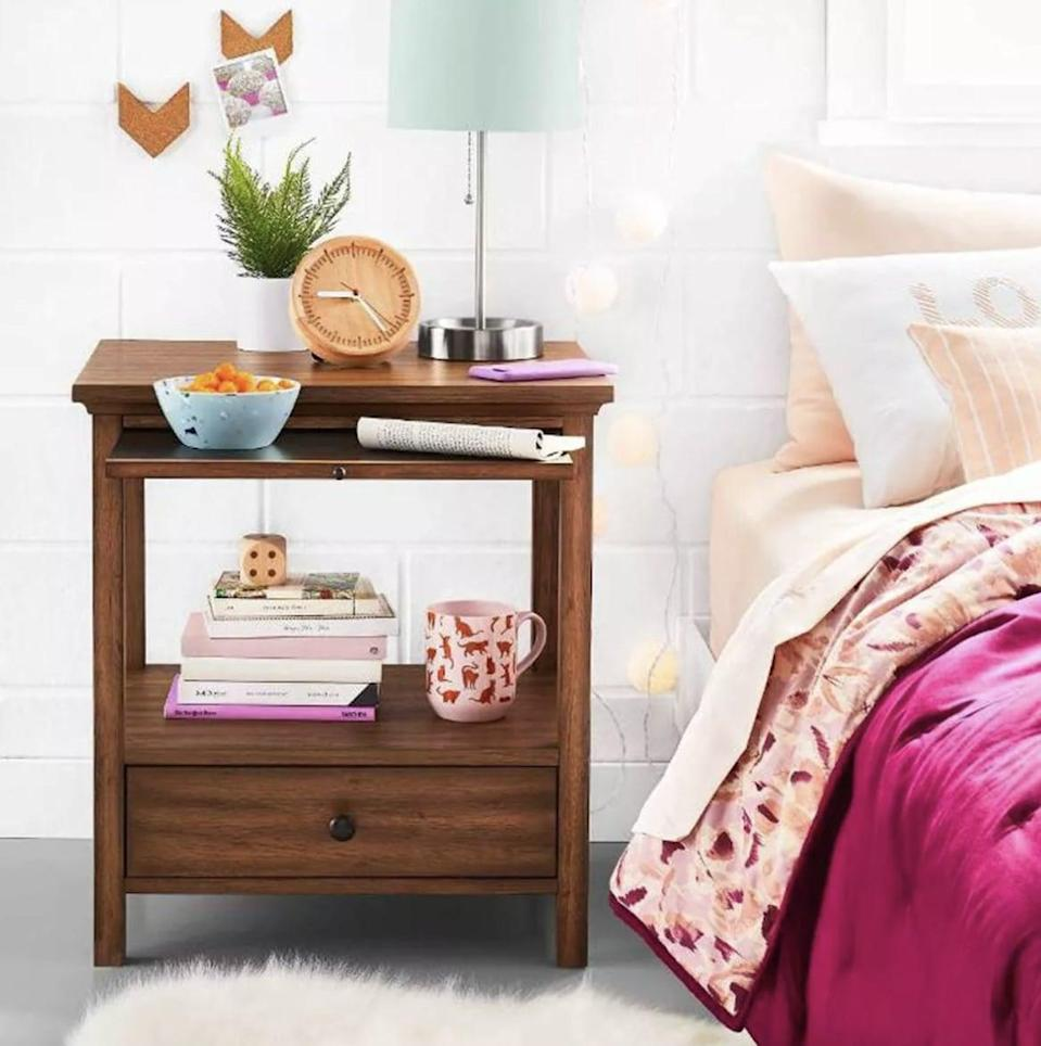 <p>Bring classic style and function into your bedroom with this <span>Threshold Shelburne Nightstand </span> ($160). The composition also allows you to display your favorite books or lamp.</p>