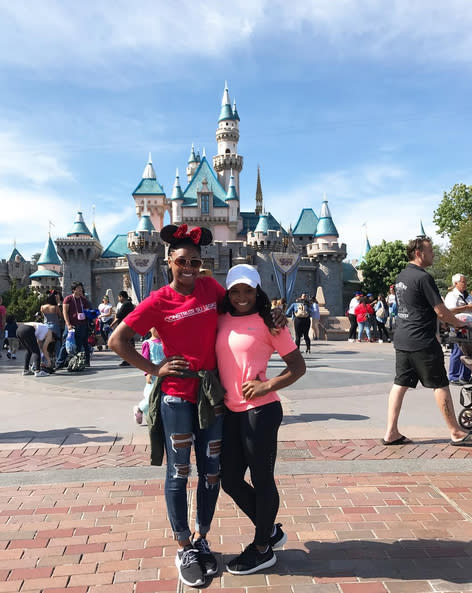 "<p>Disneyland hosted the Olympic gold medalist and <i>Dancing With the Stars</i> pro and her little sister, Adria, for what Simone described as a, ""<a href=""https://www.instagram.com/p/BVLf4fQDmxB/?taken-by=simonebiles"" rel=""nofollow noopener"" target=""_blank"" data-ylk=""slk:vacation before our vacation"" class=""link rapid-noclick-resp"">vacation before our vacation</a>."" Ah, the celeb life! (Photo: Simone Biles via Instagram) </p>"