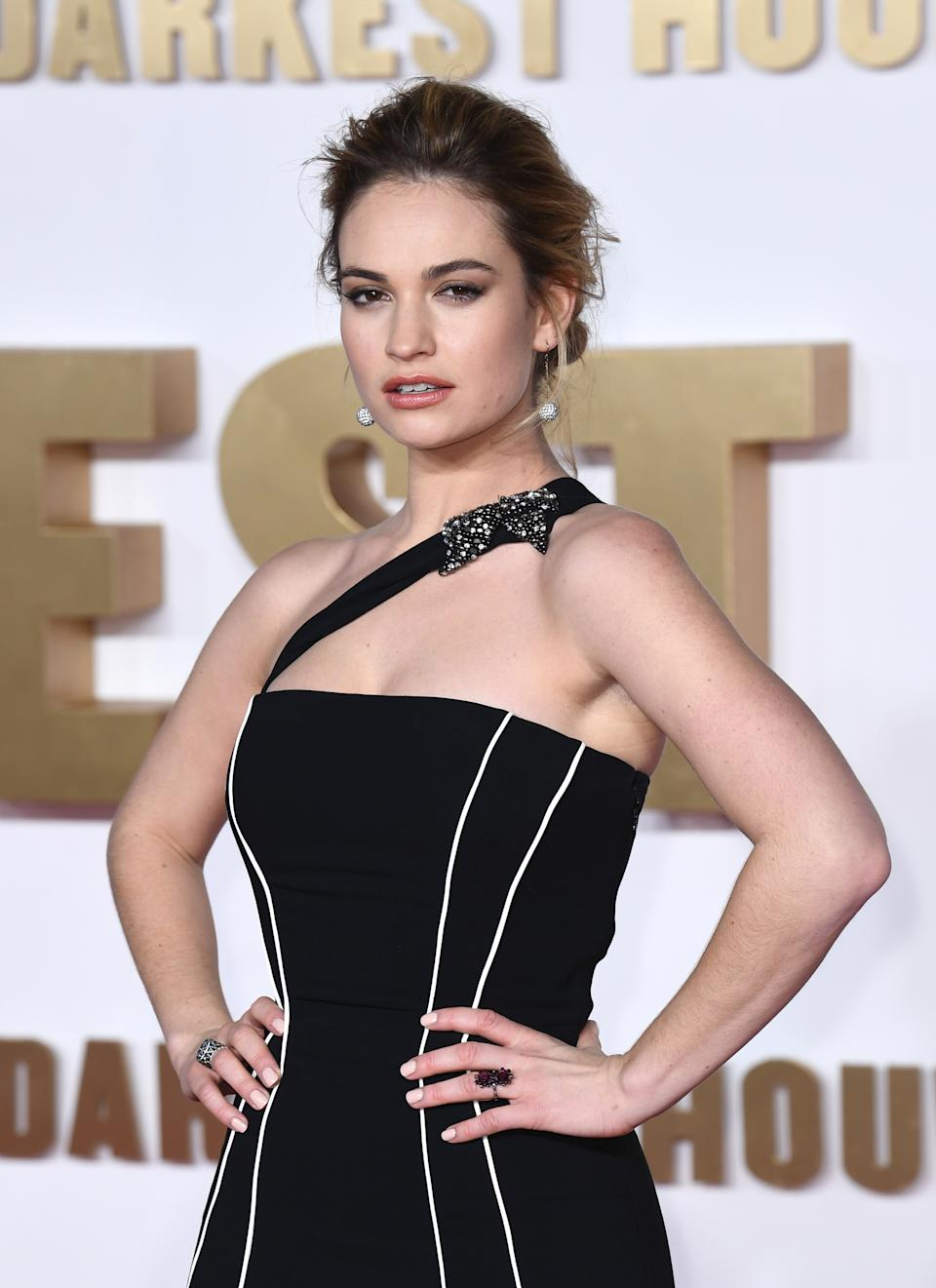 Lily James attending the Darkest Hour Premiere held at the Odeon, Leicester Square, London. Picture Credit Should Read: Doug Peters/EMPICS Entertainment