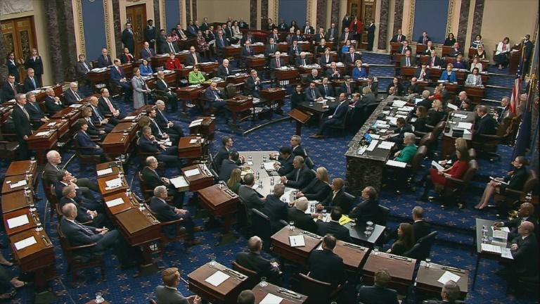 US Senators vote in the impeachment trial of US President Donald Trump on February 5, 2020 (AFP Photo/Handout)