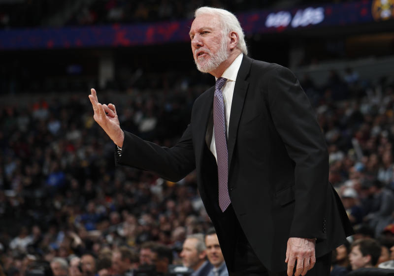 San Antonio Spurs head coach Gregg Popovich argues for a call against the Denver Nuggets in the first half of an NBA game on Feb. 10, 2020, in Denver. (AP Photo/David Zalubowski)