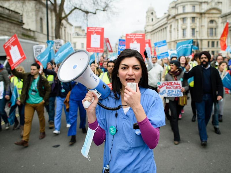Junior doctors protest in central London: Getty Images