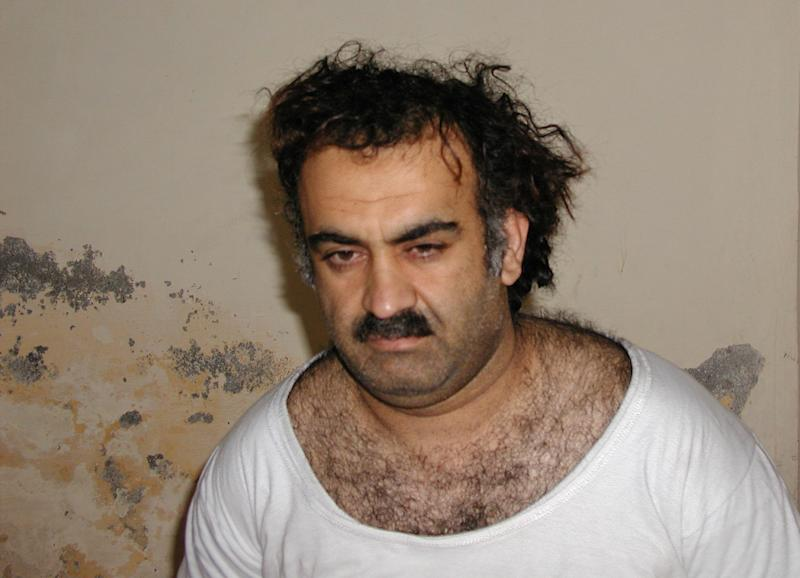 FILE - This March 1, 2003, file photo obtained by the Associated Press shows Khalid Sheikh Mohammed, the alleged Sept. 11 mastermind, shortly after his capture during a raid in Pakistan. Confined to the basement of a CIA secret prison in Romania about a decade ago, Khalid Sheikh Mohammed, the admitted mastermind of the 9/11 terrorist attacks, asked his jailers whether he could embark on an unusual project: Would the spy agency allow Mohammed, who had earned his bachelor's in mechanical engineering, to design a vacuum cleaner? The agency officer in charge of the prison called CIA headquarters and a manager approved the request, a former senior CIA official told The Associated Press. (AP Photo, File)