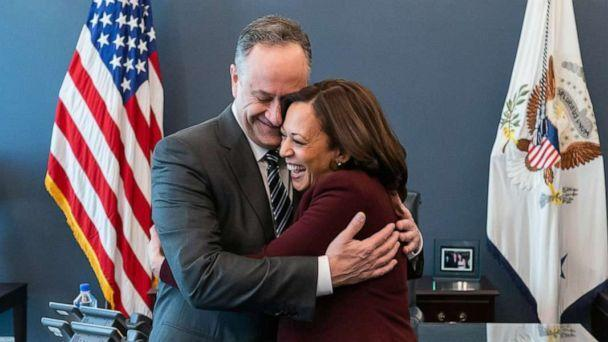 PHOTO: Vice President Kamala Harris embraces her husband Mr. Doug Emhoff on Jan. 21, 2021, during her first visit to her West Wing Office at the White House.  (Official White House Photo by Lawrence Jackson)