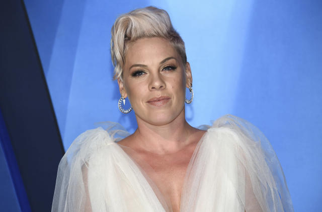Pink arrives at the 51st annual CMA Awards on Wednesday, Nov. 8, 2017, in Nashville, Tenn. (Photo by Evan Agostini/Invision/AP)