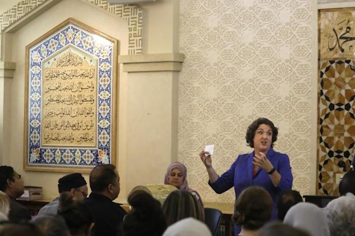 IRVINE, CA - AUGUST 24, 2019 - - Rep. Katie Porter holds a town hall meeting answering questions from constituents about impeachment of the president, global warming and immigration at the Islamic Center of Irvine in Irvine on August 24, 2019. Porter spent the day criss-crossing her districts to make her case for re-election in a tough swing district.(Genaro Molina / Los Angeles Times)