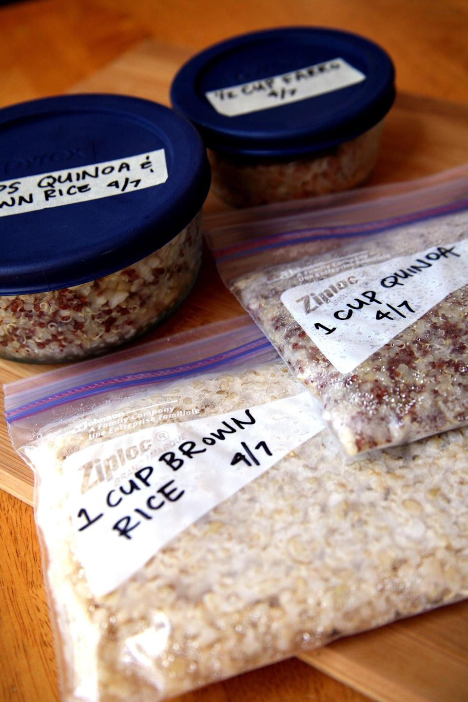 "<p>When you don't have tons of time to prepare dinner, you can avoid ordering high-calorie takeout by keeping healthy foods in the freezer you can reheat for quick meals like <a href=""https://www.popsugar.com/fitness/How-Freeze-Cooked-Whole-Grains-37229880"" class=""link rapid-noclick-resp"" rel=""nofollow noopener"" target=""_blank"" data-ylk=""slk:frozen grains"">frozen grains</a> or these <a href=""https://www.popsugar.com/fitness/Spaghetti-Squash-Lentils-40654750"" class=""link rapid-noclick-resp"" rel=""nofollow noopener"" target=""_blank"" data-ylk=""slk:maple cumin lentils"">maple cumin lentils</a>.</p>"