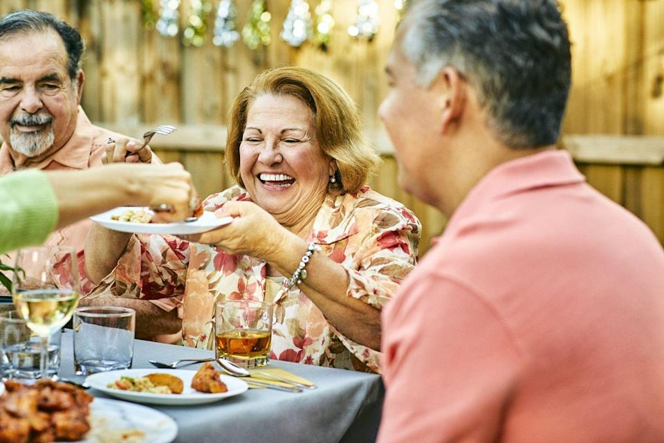 "<p>You might think that you're doing your body a favor when you skip breakfast, lunch, or dinner, but the opposite is actually true. <a href=""https://www.piedmont.org/living-better/what-happens-to-the-body-when-you-skip-meals"" rel=""nofollow noopener"" target=""_blank"" data-ylk=""slk:When you skip a meal"" class=""link rapid-noclick-resp"">When you skip a meal</a> or go a long time without eating, your body goes into survival mode, which can cause your metabolism to slow down (the opposite of what you want) and lead to feelings of fatigue and irritation. That can also mean that when you do decide to eat, you're so hungry that you eat everything in sight. </p><p>Instead of skipping meals, try having a few small meals throughout the day, one every two-three hours. Make sure each meal is full of vegetables, fiber, and protein to keep you full. </p>"