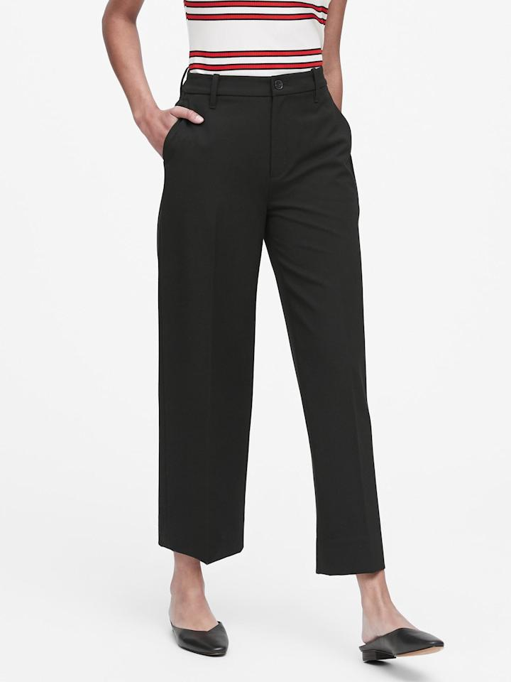 """<p>Get these <a href=""""https://www.popsugar.com/buy/Slim-Wide-Leg-Cropped-Pants-499223?p_name=Slim%20Wide-Leg%20Cropped%20Pants&retailer=bananarepublic.gap.com&pid=499223&price=59&evar1=fab%3Aus&evar9=46730877&evar98=https%3A%2F%2Fwww.popsugar.com%2Ffashion%2Fphoto-gallery%2F46730877%2Fimage%2F46730887%2FSlim-Wide-Leg-Cropped-Pants&list1=shopping%2Cbanana%20republic%2Cfall%20fashion%2Cfall%2Cpants&prop13=mobile&pdata=1"""" rel=""""nofollow"""" data-shoppable-link=""""1"""" target=""""_blank"""" class=""""ga-track"""" data-ga-category=""""Related"""" data-ga-label=""""https://bananarepublic.gap.com/browse/product.do?pid=493015002&amp;cid=1108821&amp;pcid=67595&amp;vid=1&amp;grid=pds_21_158_1#pdp-page-content"""" data-ga-action=""""In-Line Links"""">Slim Wide-Leg Cropped Pants</a> ($59, originally $80) for work and beyond.</p>"""