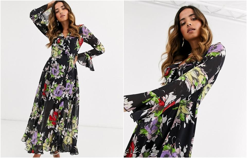 ASOS DESIGN wrap maxi dress with frills in dark based floral print