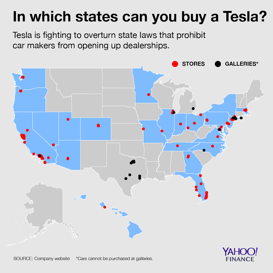 If you live in one of the blue states, you don't have to cross state lines to buy a Tesla. Graphic credit: David Foster/Yahoo Finance
