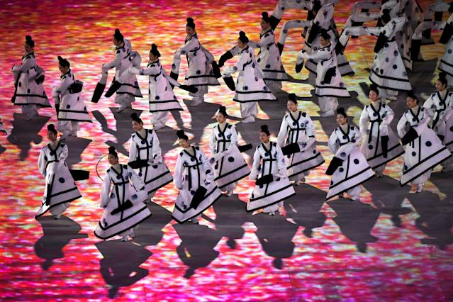 <p>Participants perform during the opening ceremony of the Pyeongchang 2018 Winter Olympic Games at the Pyeongchang Stadium on February 9, 2018. (Photo credit should read FRANCK FIFE/AFP/Getty Images) </p>
