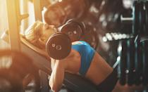 <p>This chest press variation allows you to work different angles of the pectoral muscles and assists with overall chest strengthening. </p><p><strong>How to: </strong>Set a bench to a 45 degree incline. Grab two dumbbells in each hand and lay supine on the bench. Press your feet into the floor and make sure your head, shoulders, and butt all make contact with the bench. Draw your shoulders back and down, and lift the dumbbells overhead in line with your eyes and palms facing forward. Inhale as you lower the arms down to the chest slightly wider than your armpits, then exhale as you push upwards to full elbow extension. </p>