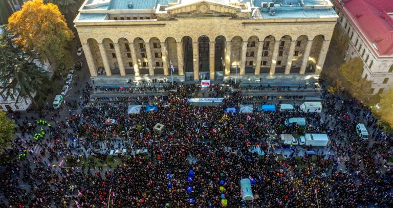 Tens of thousands of protesters gathered outside parliament on Monday