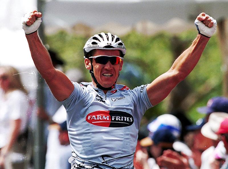 Australian sprinter Robbie McEwen wins the final stage of the 2000 Tour Down Under in the short-sleeved-jersey version of the Farm Frites jacket available on eBay