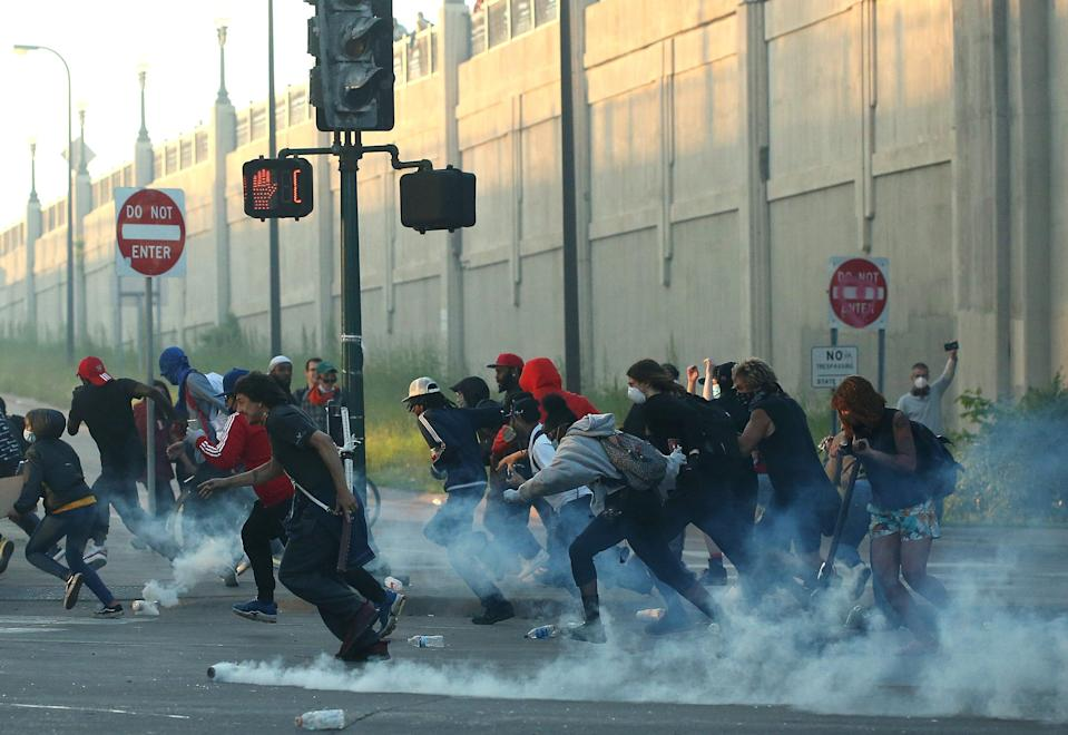 tear gas protesters