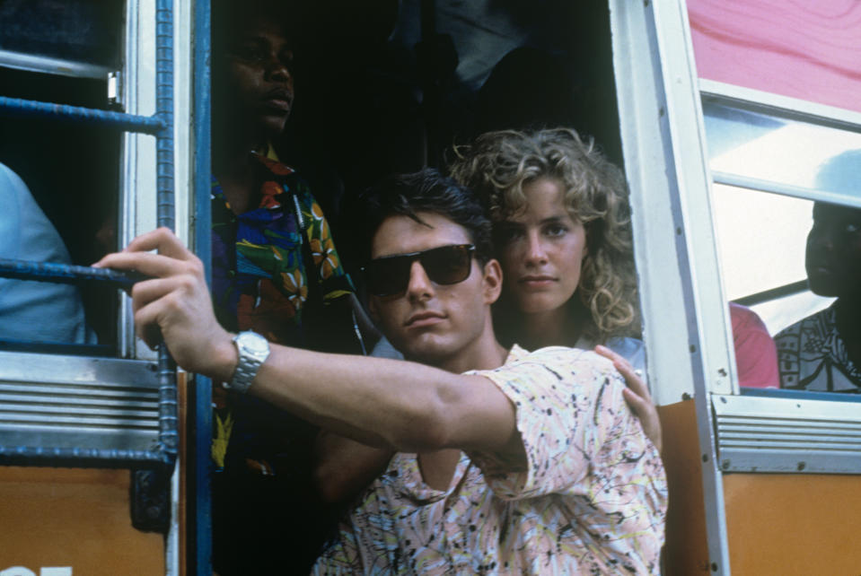 American actors Tom Cruise and Elisabeth Shue posing on board a mean of transportation in the film Cocktail. 1988 (Photo by Mondadori via Getty Images)