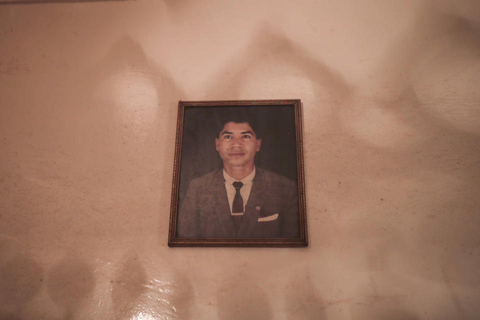 An image of a young Belhussein Abdelsalam, a Charlie Chaplin impersonator, in his home in Sale, near Rabat, Morocco, Tuesday, March 23, 2021. When 58-year-old Moroccan Belhussein Abdelsalam was arrested and lost his job three decades ago, he saw Charlie Chaplin on television and in that moment decided upon a new career: impersonating the British actor and silent movie maker remembered for his Little Tramp character. (AP Photo/Mosa'ab Elshamy)