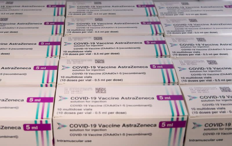 AstraZeneca COVID-19 vaccine is seen at a vaccination center in Ronquieres