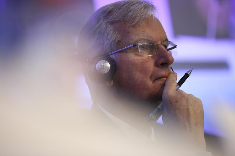 European Union chief Brexit negotiator Michel Barnier listens to a question during a debate on Brexit at the Charlemagne building in Brussels, Wednesday, Jan. 23, 2019. (AP Photo/Francisco Seco)