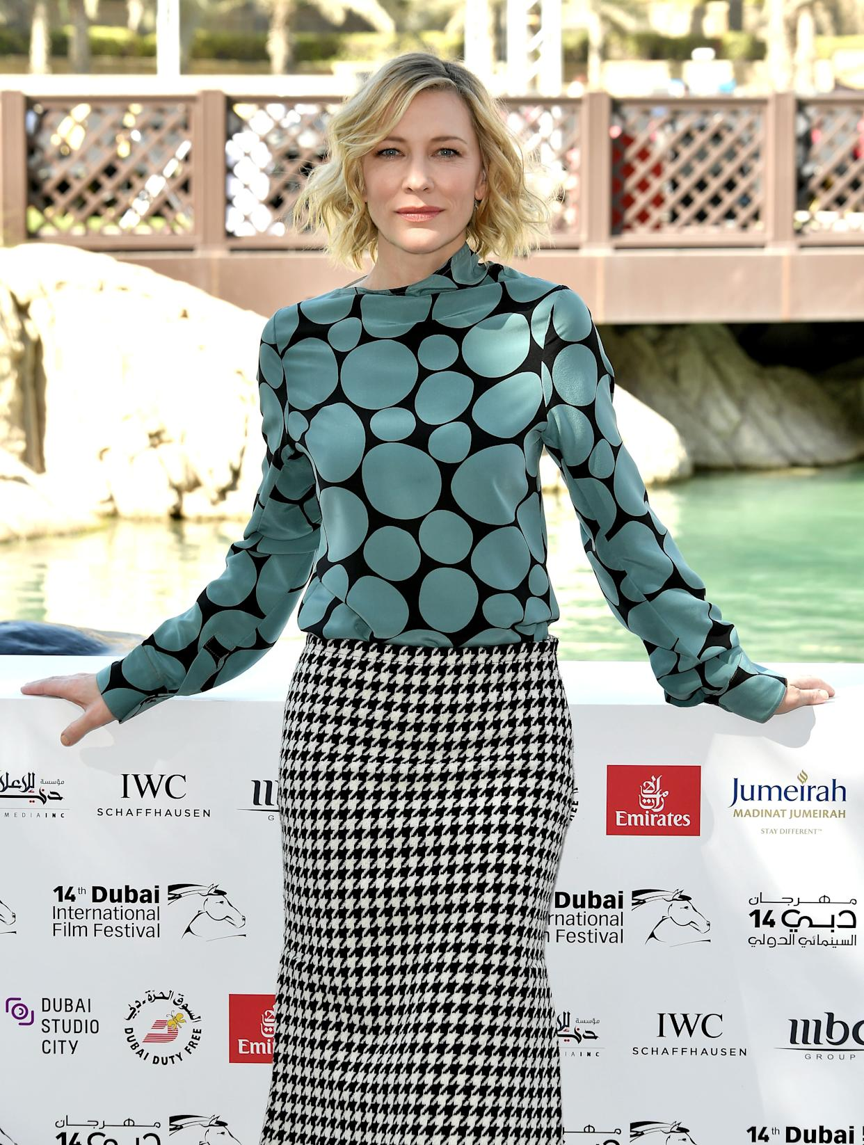 DUBAI, UNITED ARAB EMIRATES - DECEMBER 07: Cate Blanchett attends the IWC Photocall on day two of the 14th annual Dubai International Film Festival held at the Madinat Jumeriah Complex on December 7, 2017 in Dubai, United Arab Emirates. (Photo by Neilson Barnard/Getty Images for DIFF,)