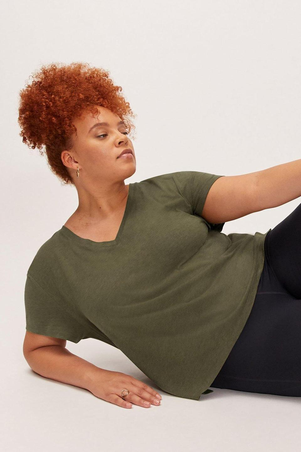 "Meet the V-neck of the future: This forward-thinking drapey tee is made of 100% biodegradable material that's hypoallergenic and repels static. $32, Girlfriend Collective. <a href=""https://www.girlfriend.com/products/fern-eva-v-neck-tee"" rel=""nofollow noopener"" target=""_blank"" data-ylk=""slk:Get it now!"" class=""link rapid-noclick-resp"">Get it now!</a>"