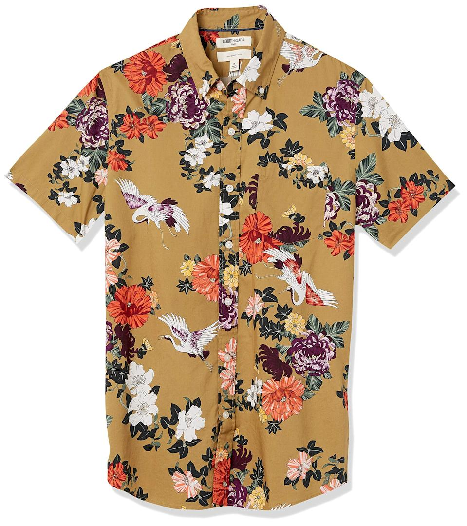"""<h2>Floral Button-Downs</h2><br>A staple in every cool queer person's closet! An oversized floral button-down is usually left open over a solid color shirt (tank top or T-shirt). It's classic. You simply can't go wrong with it. <br><br><em>Shop<strong> <a href=""""https://amzn.to/34f9CyD"""" rel=""""nofollow noopener"""" target=""""_blank"""" data-ylk=""""slk:Goodthreads"""" class=""""link rapid-noclick-resp"""">Goodthreads</a></strong></em><br><br><strong>Goodthreads</strong> Men's Slim-Fit Short-Sleeve Printed Poplin Shirt, $, available at <a href=""""https://amzn.to/34f9CyD"""" rel=""""nofollow noopener"""" target=""""_blank"""" data-ylk=""""slk:Amazon"""" class=""""link rapid-noclick-resp"""">Amazon</a>"""