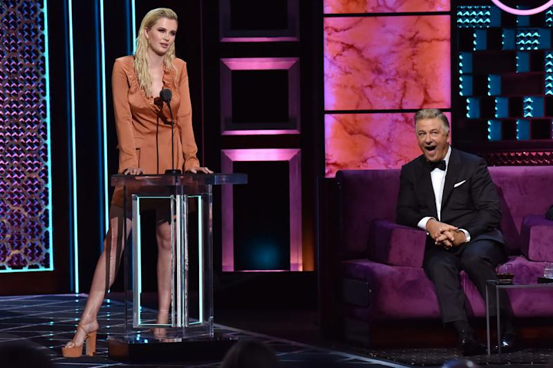 Ireland Baldwin roasts Alec Baldwin during the Comedy Central Roast of Alec Baldwin at Saban Theatre on Sept. 7 in Beverly Hills, Calif. (Photo: Jeff Kravitz/FilmMagic)