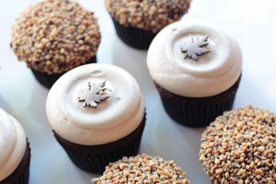 "Take your PSL love to the next level with these delicious pumpkin-spiced cupcakes. The tangy maple-cream cheese frosting adds the perfect amount of sweetness. <a href=""https://www.epicurious.com/recipes/food/views/pumpkin-spice-cupcakes?mbid=synd_yahoo_rss"" rel=""nofollow noopener"" target=""_blank"" data-ylk=""slk:See recipe."" class=""link rapid-noclick-resp"">See recipe.</a>"