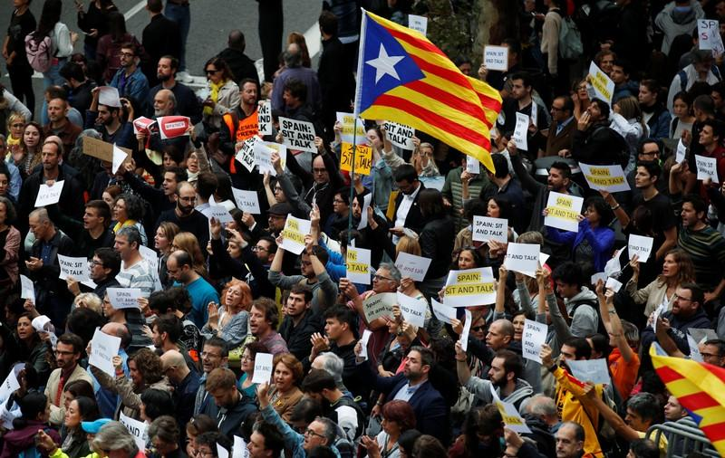 Supporters of Catalonia's independence hold a protests in Barcelona