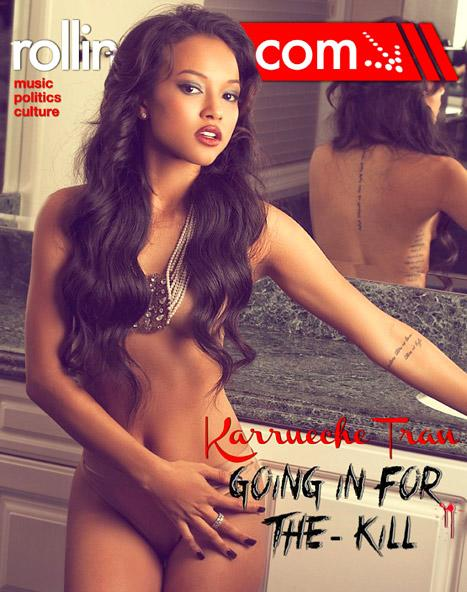 Karrueche Tran Poses Topless, Discusses Chris Brown and Rihanna Love Triangle