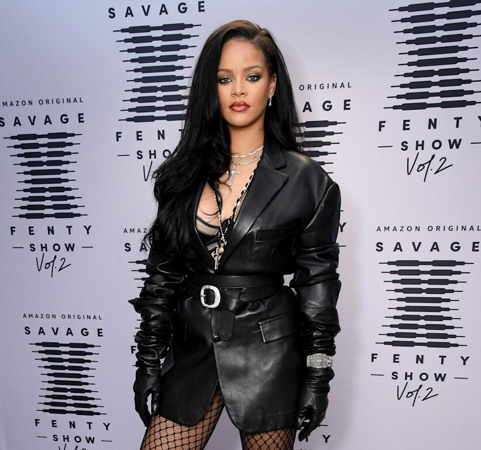 LOS ANGELES, CALIFORNIA - OCTOBER 1: Rihanna attends the second press day for Rihanna's Savage X Fenty Show Vol. 2 presented by Amazon Prime Video at the Los Angeles Convention Center in Los Angeles, California; and broadcast on October 2, 2020.