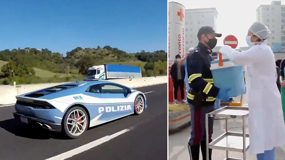 Italian Police used their Lamborghini Huracan to deliver a kidney for transplant. Source: Twitter/@poliziadistato