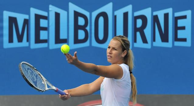 Dominika Cibulkova of Slovakia during in a training session ahead of the 2012 Australian Open tennis tournament in Melbourne on January 15, 2012. The tennis season's first Grand Slam of the year will take place from January 16 to 29. IMAGE STRICTLY RESTRICTED TO EDITORIAL USE - STRICTLY NO COMMERCIAL USE AFP PHOTO / PAUL CROCK (Photo credit should read PAUL CROCK/AFP/Getty Images)